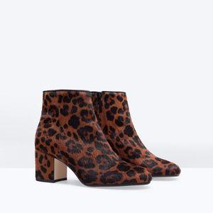Zara Leopard Pony Hair Booties